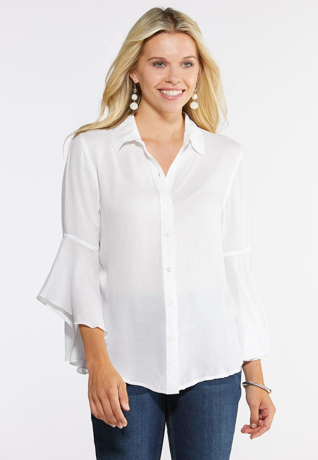Plus Size Ruffle Button Down Top Shirts & Amp ; Blouses Cato Fashions