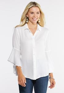 Plus Size Ruffle Button Down Top