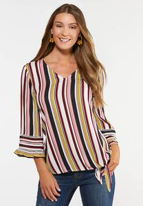 Plus Size French Stripe Tie Top