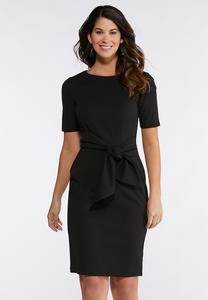 Plus Size Tie Waist Sheath Dress