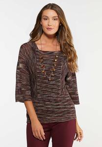 Plus Size Square Neck Pullover Sweater