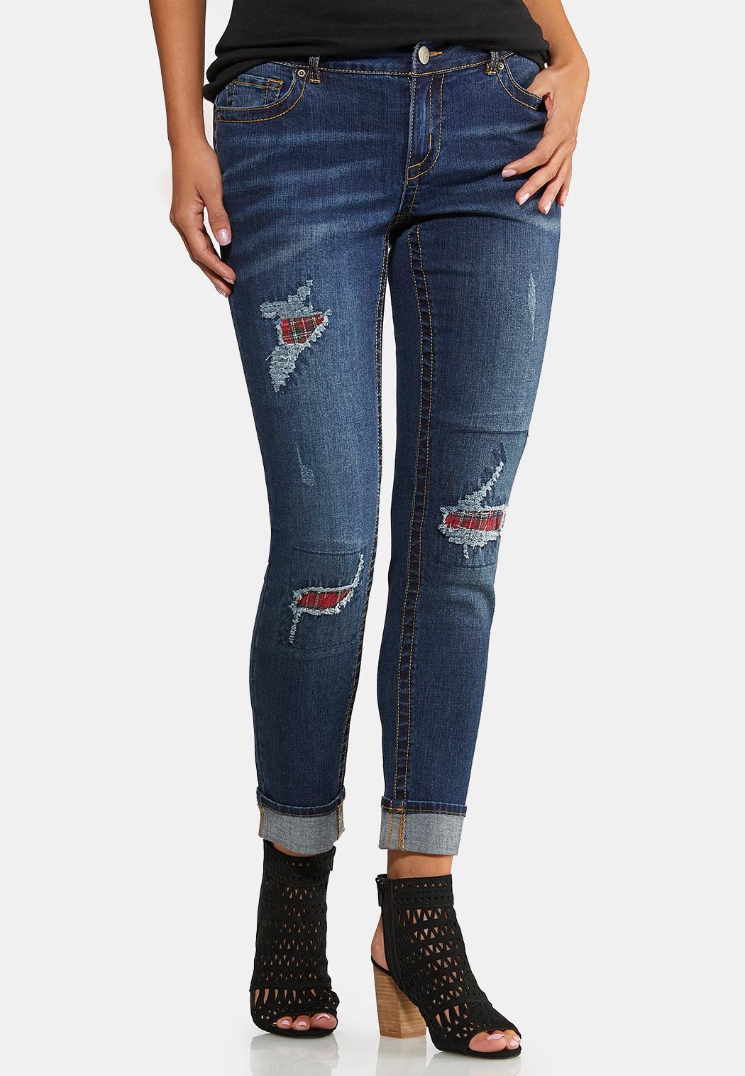 Plaid Patch Girlfriend Jeans