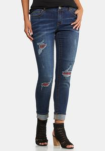 Plaid Patch Girlfriend Jeans
