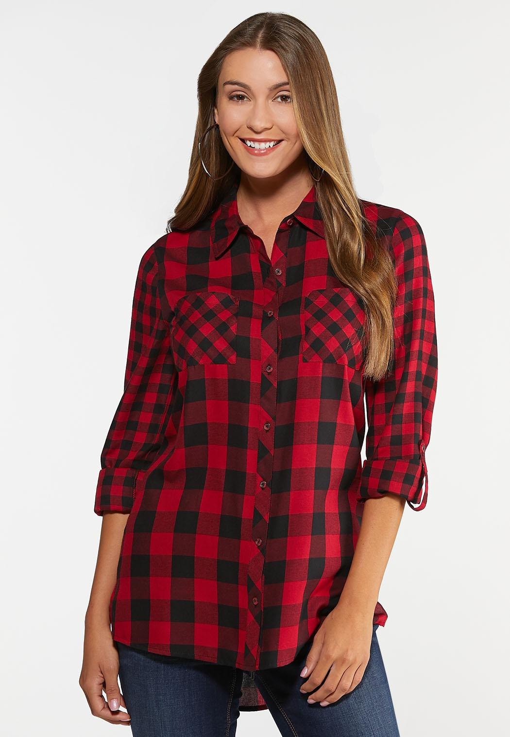info for hot-selling latest temperament shoes Plus Size Red Buffalo Plaid Top Shirts & Amp ; Blouses Cato Fashions
