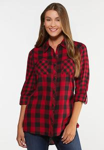 Plus Size Red Buffalo Plaid Top