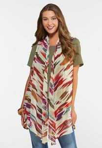 Plus Size Colorful Waterfall Vest
