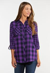 Plus Size Purple Plaid Top