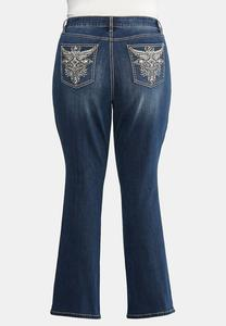 Plus Size Curvy Studded Pocket Bootcut Jeans
