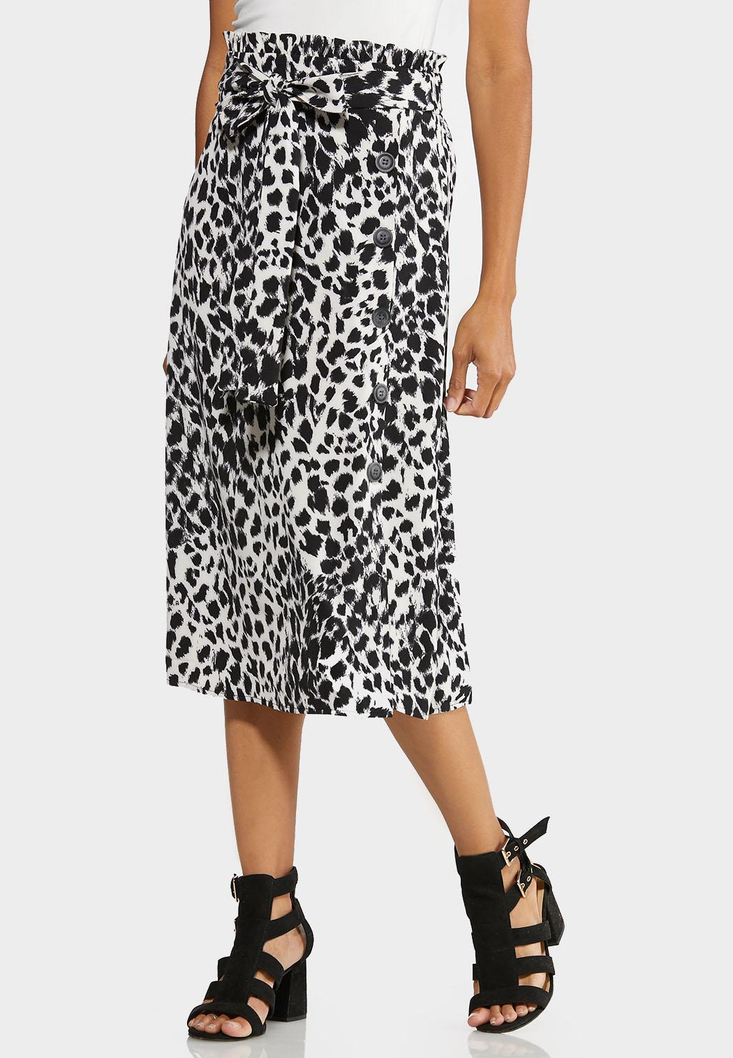 Plus Size Black White Leopard Midi Skirt