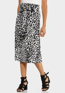 Plus Size Black White Leopard Midi Skirt