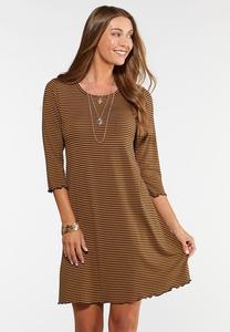 Plus Size Lettuce Edge Striped Swing Dress