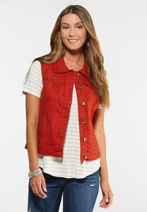 Plus Size Rust Denim Vest