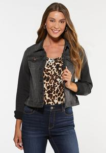 Plus Size Lace Up Denim Jacket