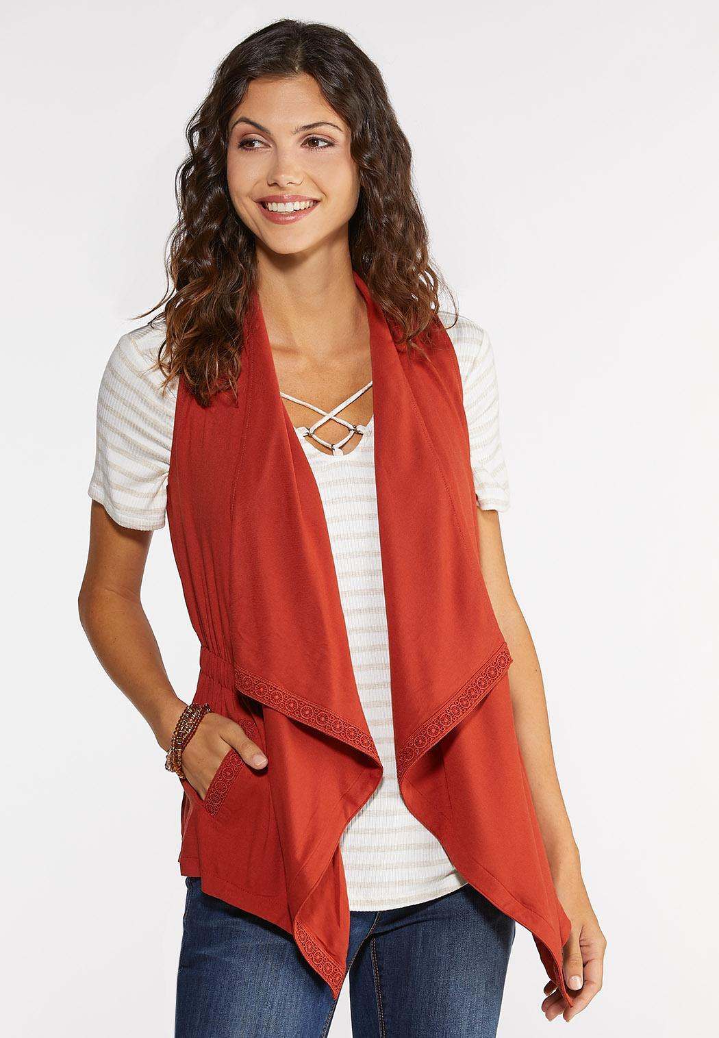 Plus Size Crochet Trim Vest