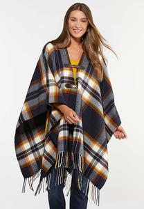 Plaid Buckle Front Poncho
