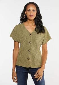 Plus Size Pullover Button Down Top