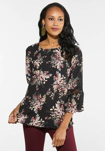 Plus Size Wine Floral Top