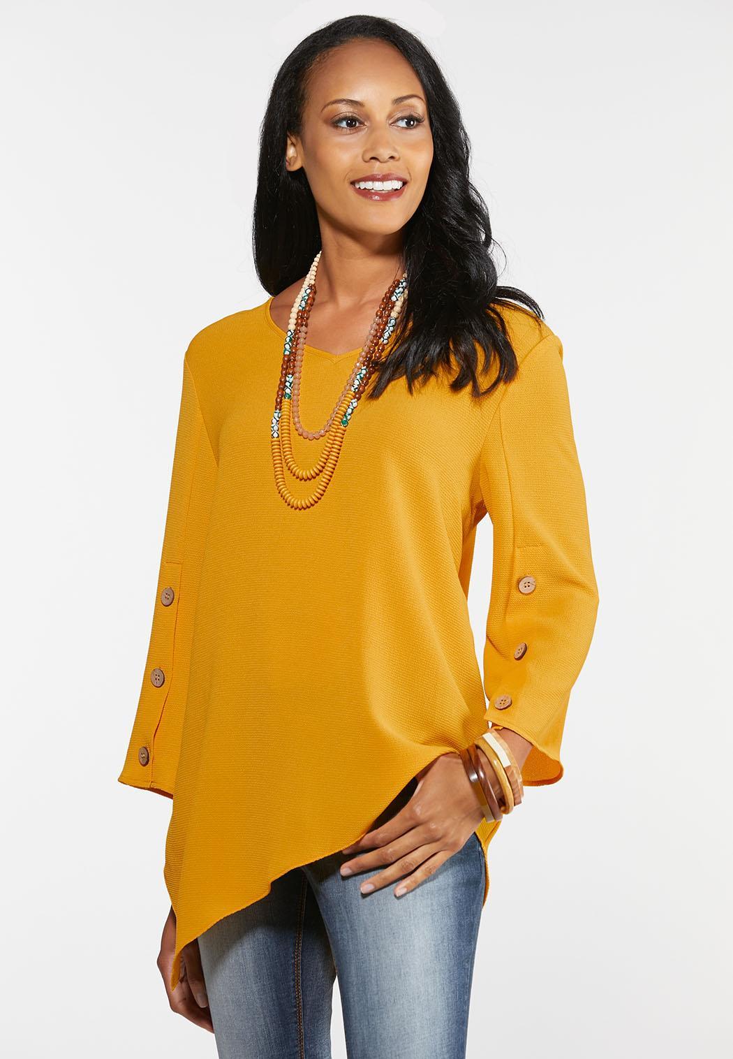 Plus Size Gold Asymmetrical Top