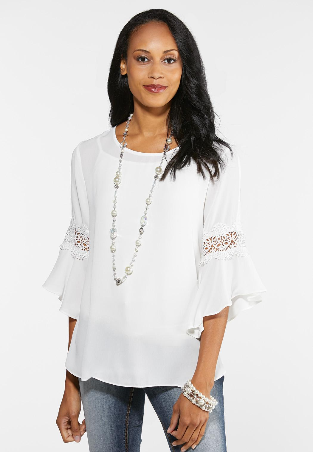 Plus Size White Lace Sleeve Top Shirts & Amp ; Blouses Cato Fashions