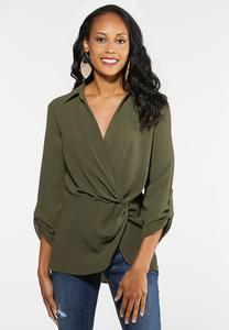 Plus Size Olive Twist Front Top