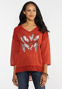 Plus Size Be Yourself Feather Print Top