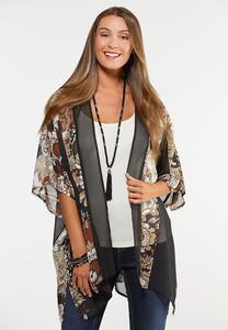 Plus Size Floral Status Kimono