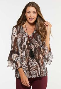 Plus Size Zebra Flutter Top