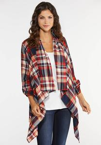 Plus Size Plaid Drape Jacket