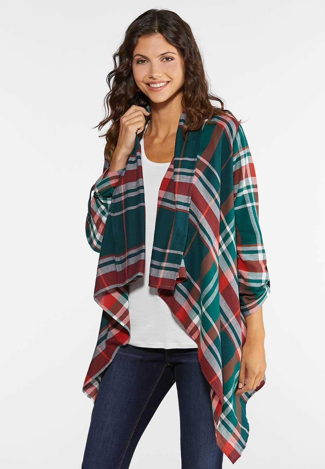 Plus Size Autumn Green Plaid Jacket