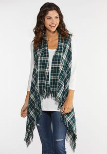 Plus Size Green Plaid Vest
