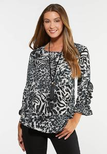 Plus Size Ruffled Animal Print Top
