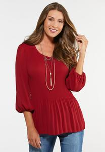 Plus Size Pleated Balloon Sleeve Top
