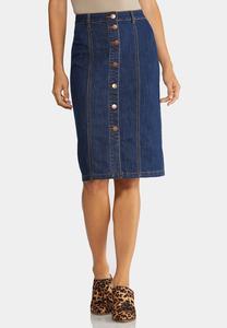 Plus Size Button Down Denim Skirt