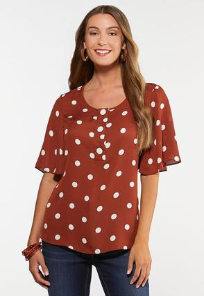 Plus Size Button And Dots Top