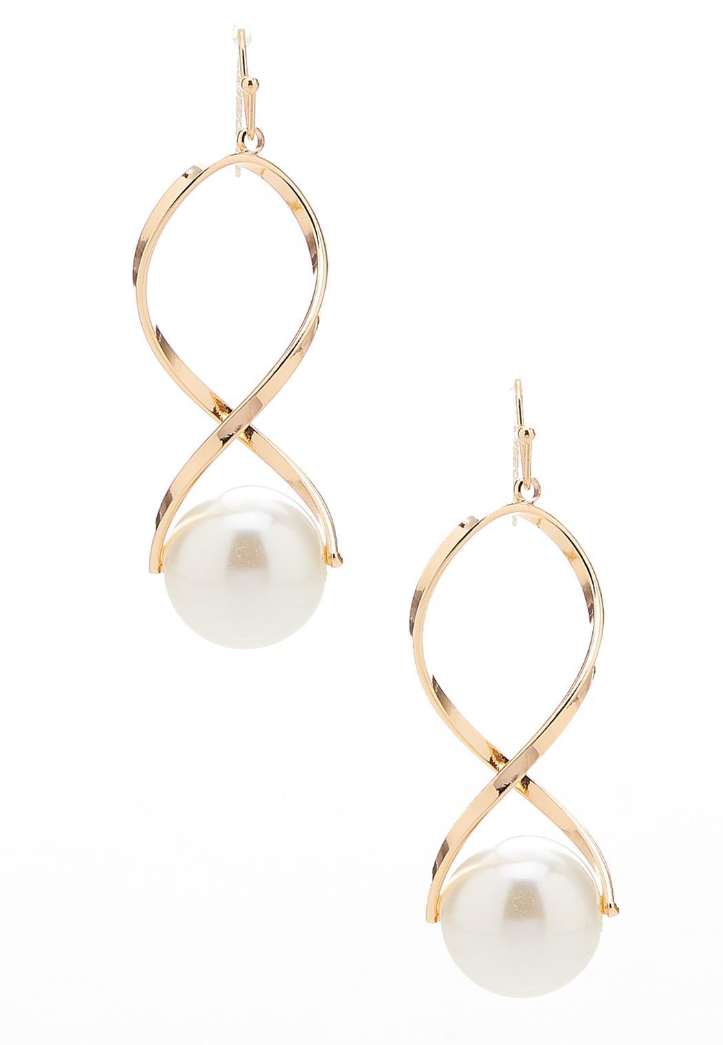 Pearl Ball Gold Twist Earrings