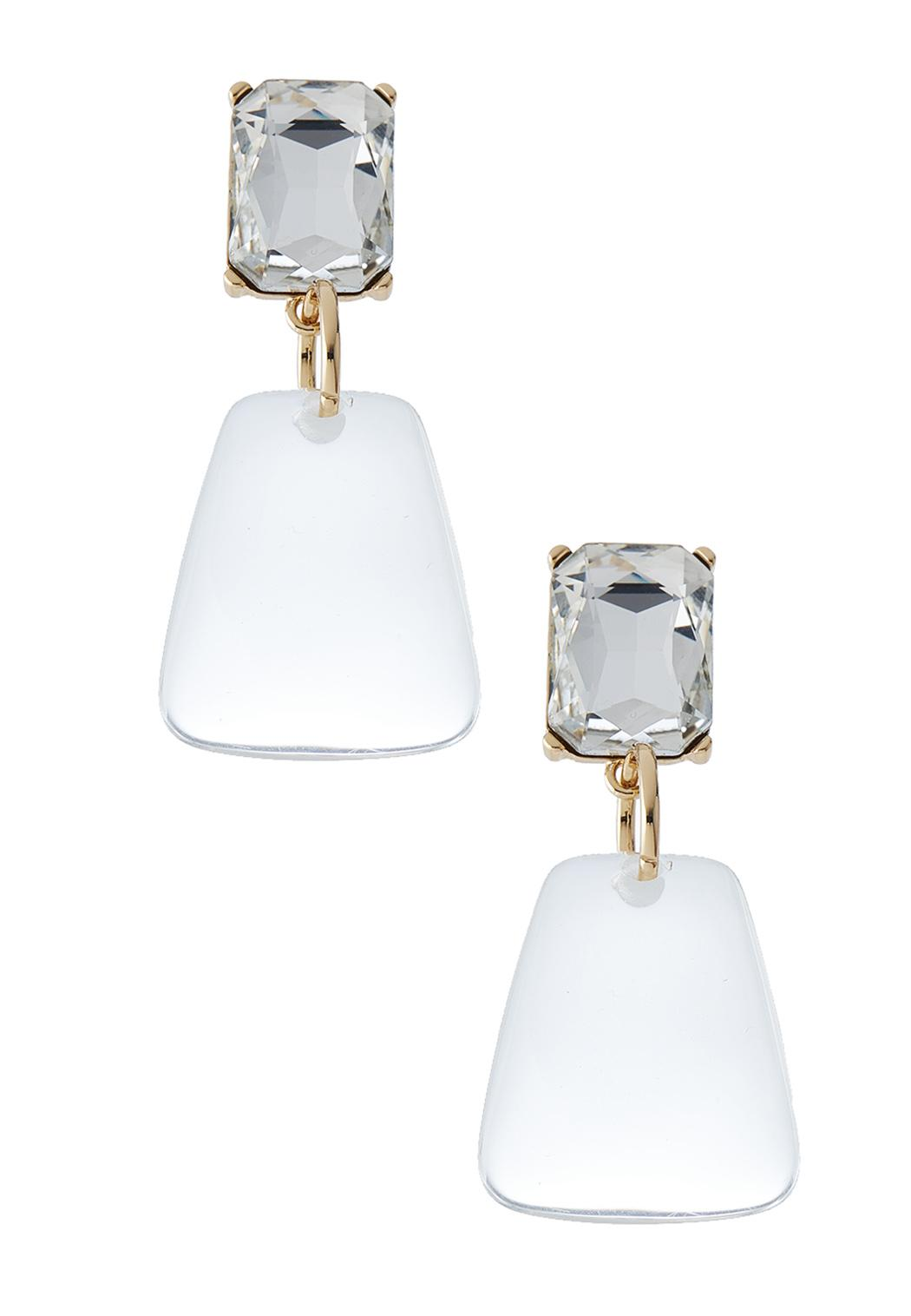 Lucite Rhienstone Deco Earrings