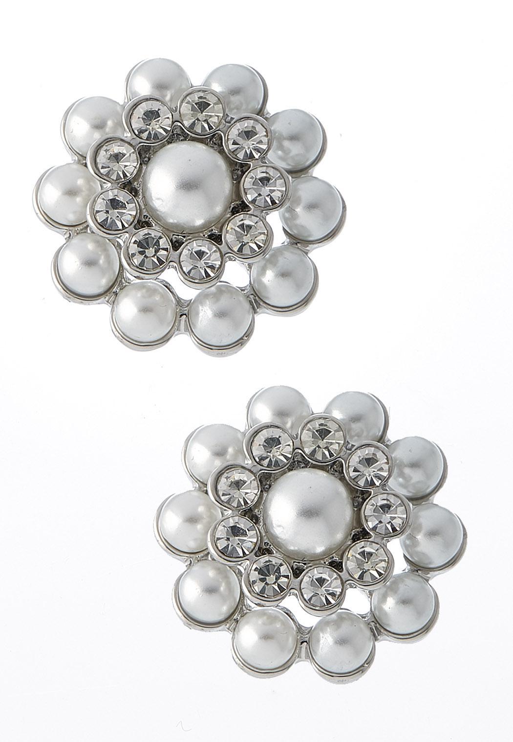Pearl Stone Button Earrings
