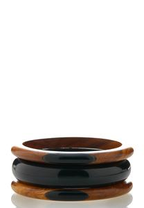 Tri Wood Bangle Set