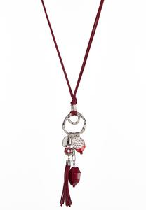 Faux Suede Cord Charm Necklace