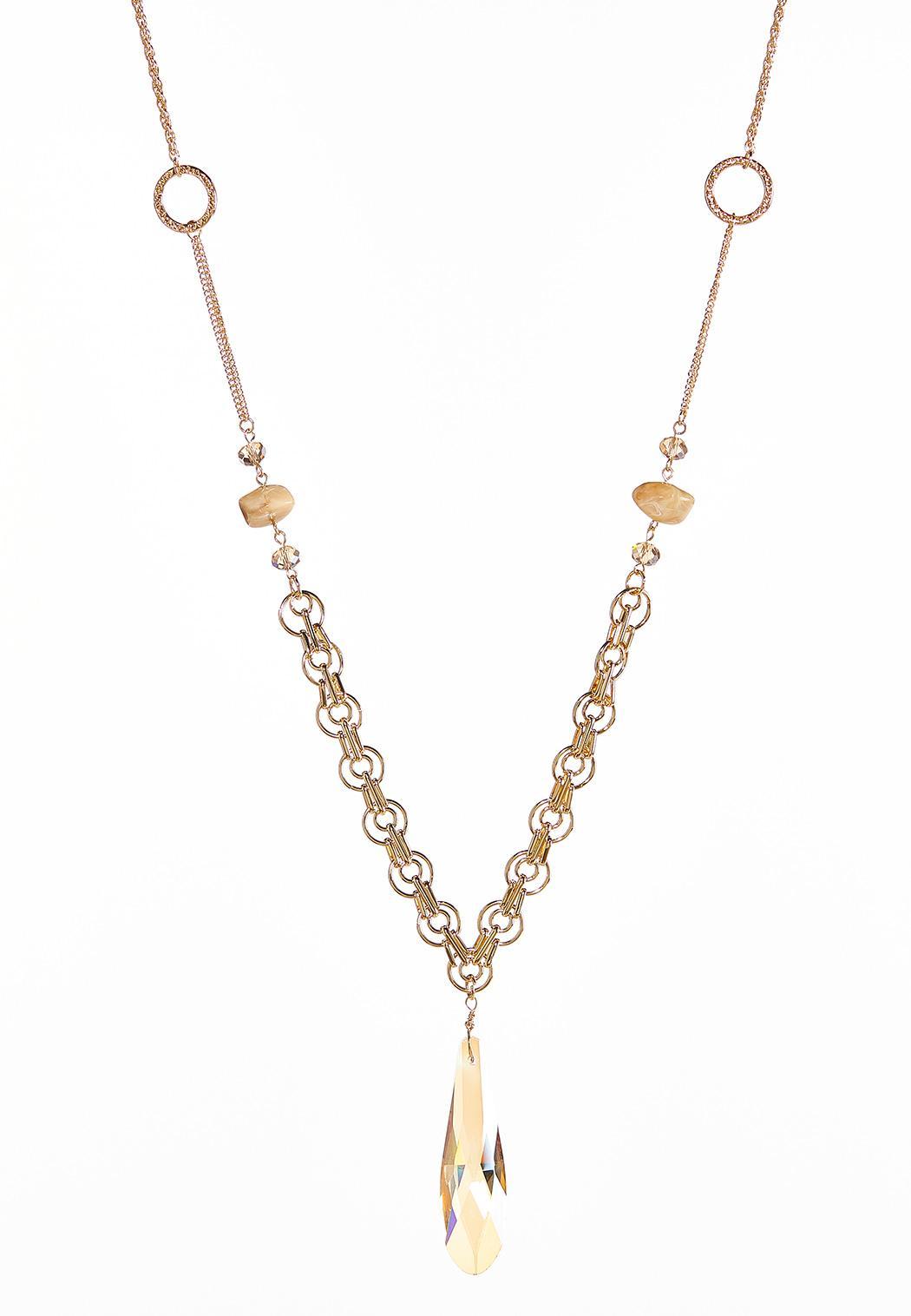 Glass Tear Shaped Pendant Necklace