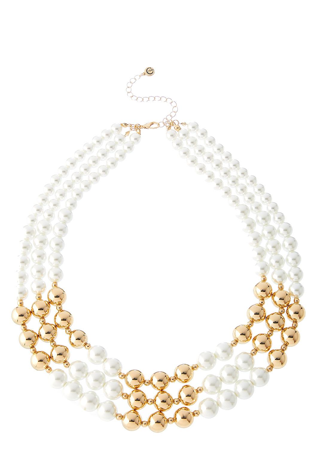 Layered Bead And Pearl Necklace