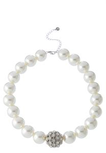 Pave And Pearl Necklace