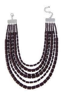Layered Cylinder Bib Necklace