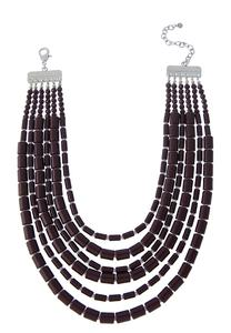 Layered Cylinder Bib Necklace