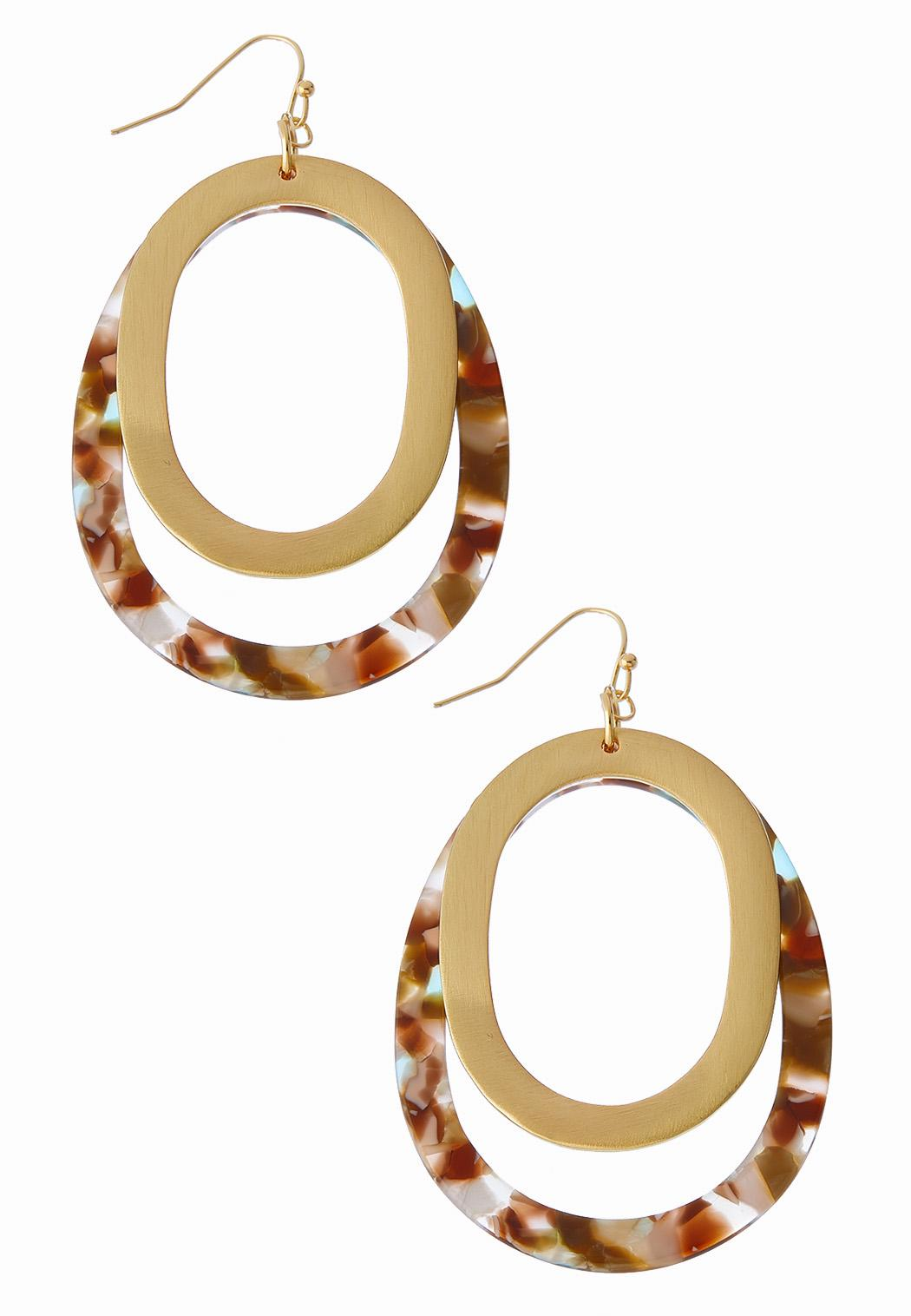 Marbled Lucite Oval Earrings