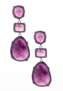 Triple Marbleized Stone Earrings