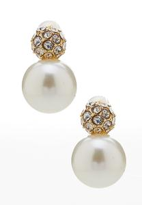 Pearl And Pave Button Earrings