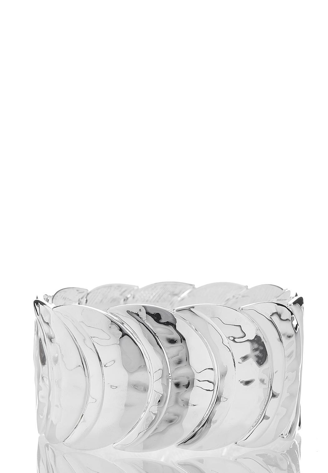 Silver Half Moon Stretch Bracelet