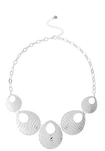 Silver Zebra Bib Necklace