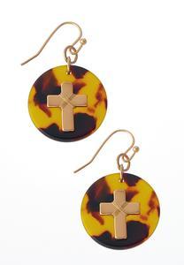 Dangling Cross Disk Earrings